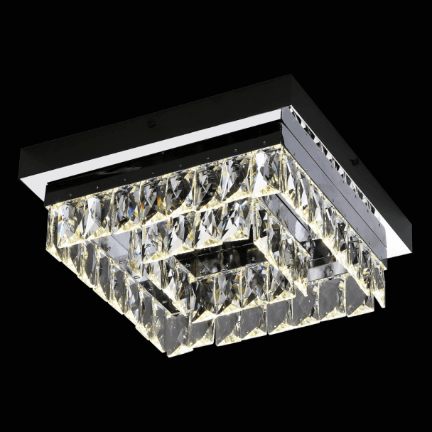 Luminaire plafond design carré cristal - Million 30 cm